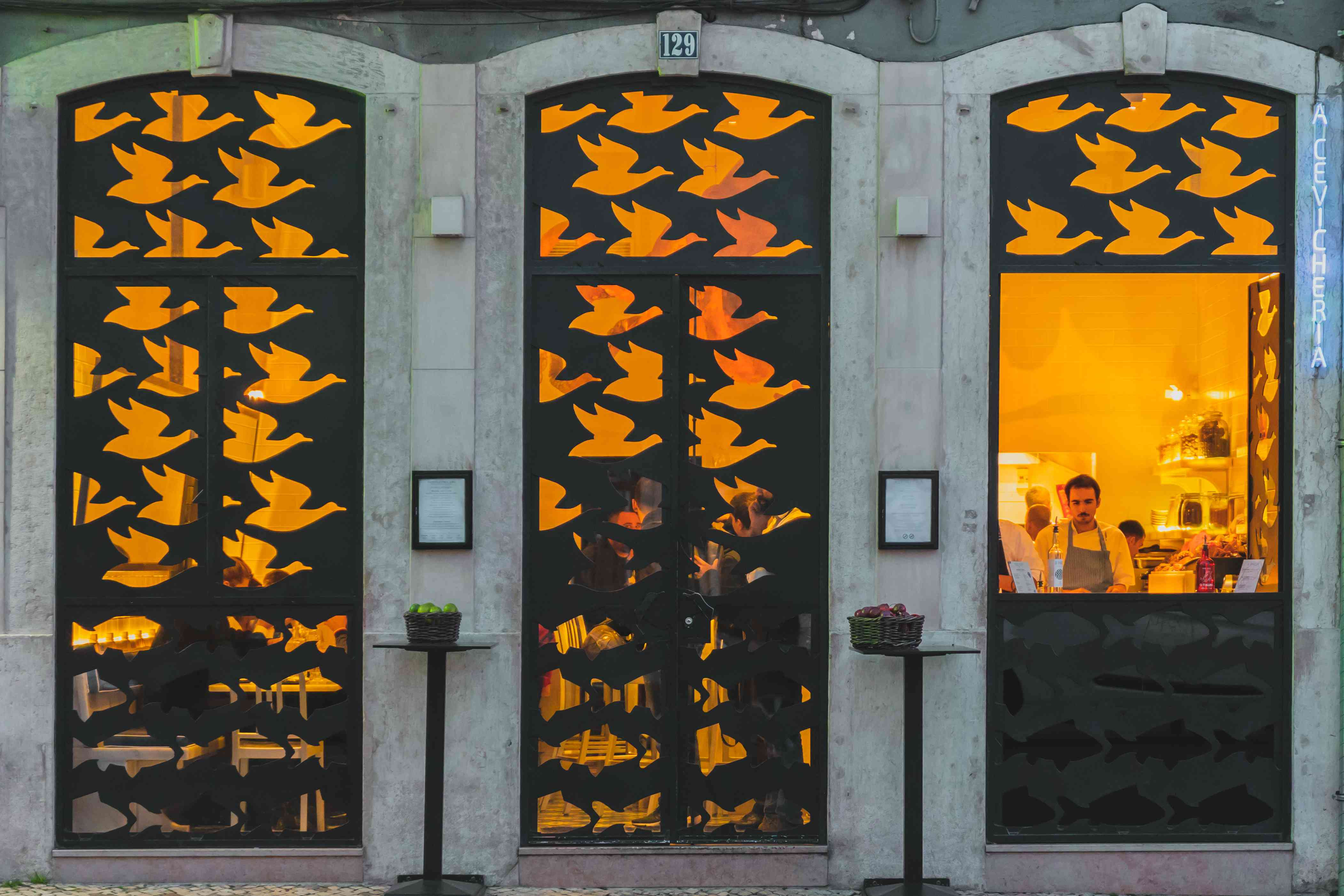 Store front withg metal bird cutouts