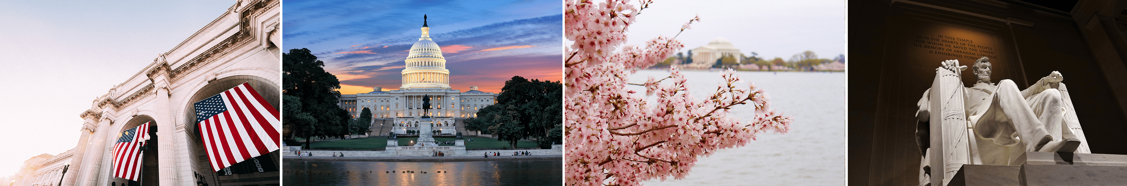 A collage of pictures including the Capitol building at sunset, a close up of the statue in the Lincoln Memorial, a picture of the cherry blossoms, and another close up of the American Flag hanging from an older building