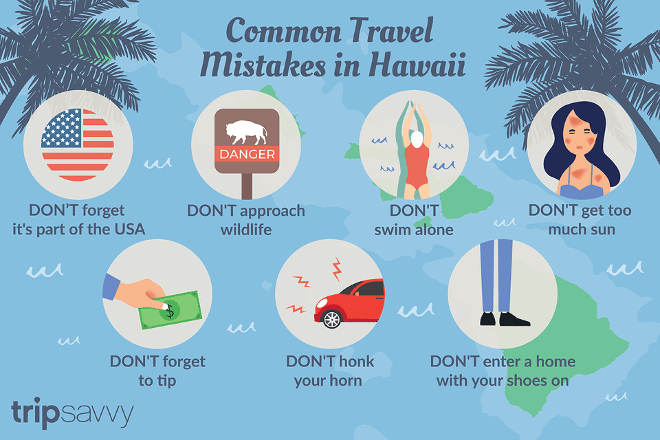graphic of common travel mistakes in Hawaii