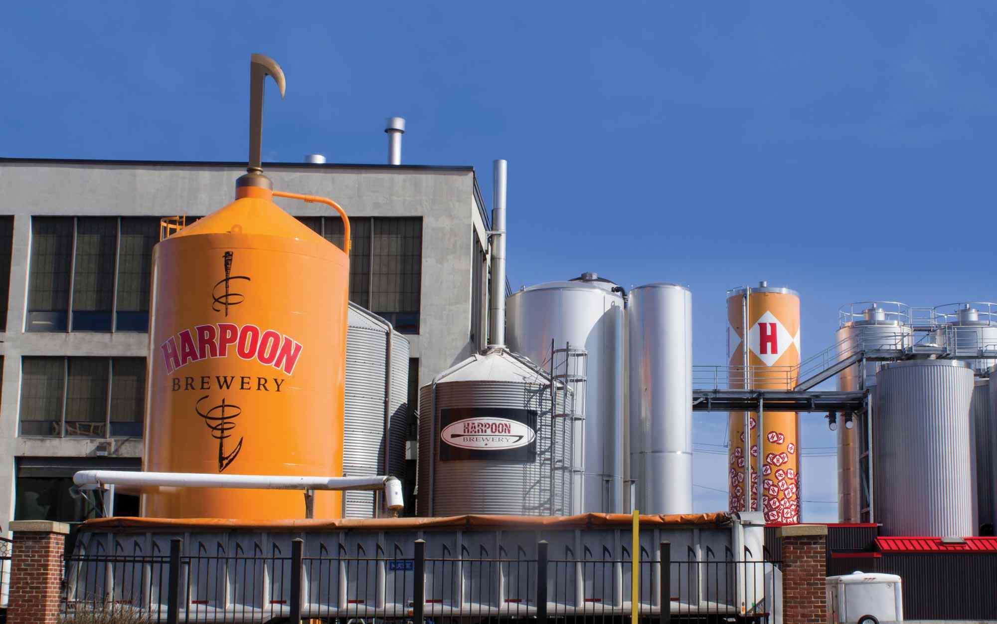 steel barrels on top of Harpoon Brewery in Boston