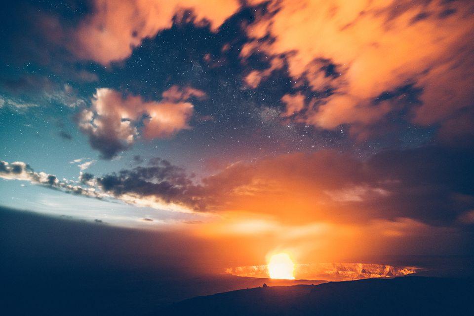 Kilauea erupting at night