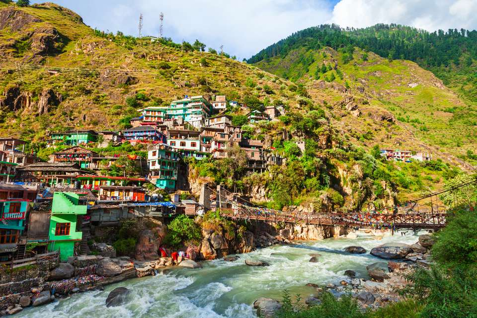 Colorful local houses in Manikaran, India