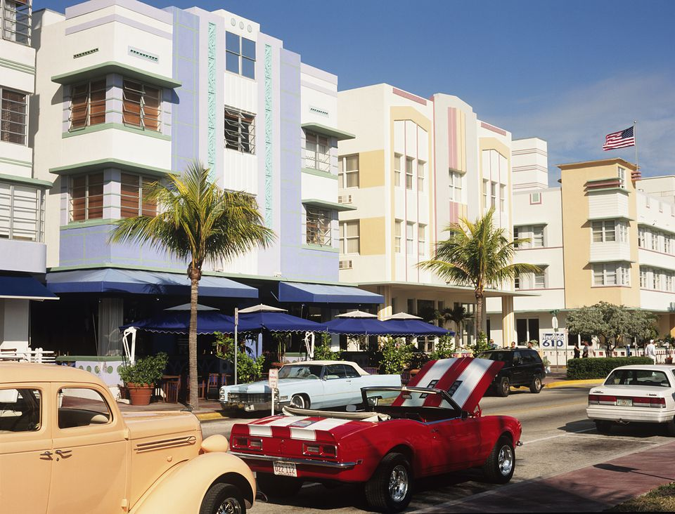 cars parked on ocean drive Miami Beach