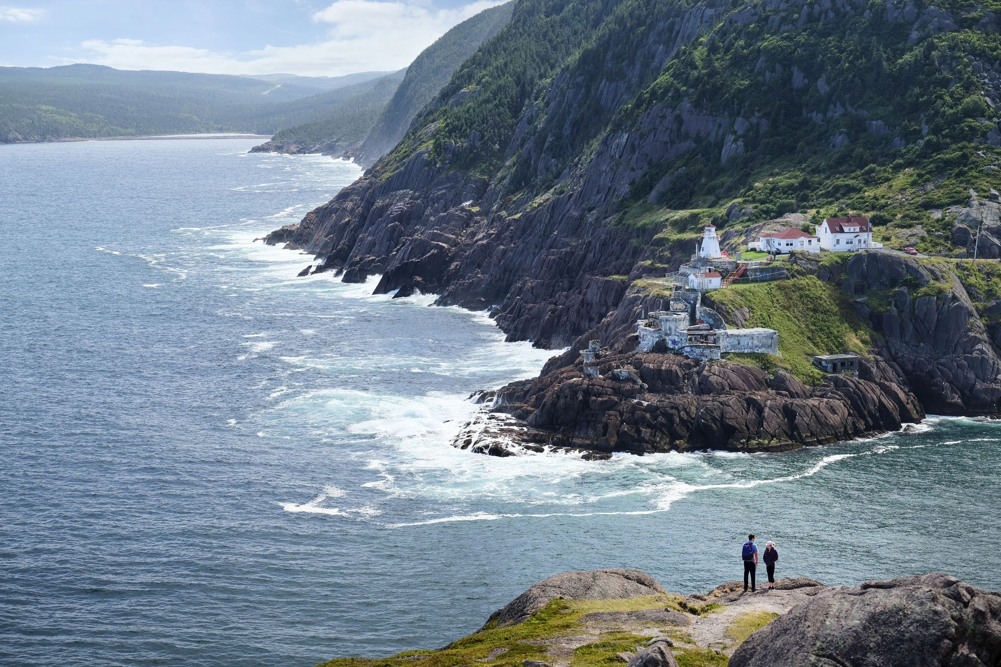 Couple looking out from coastal cliff, St Johns, Newfoundland, Canada