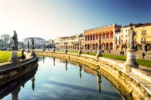 palaces in the square Prato della Valle in Padua, Italy.