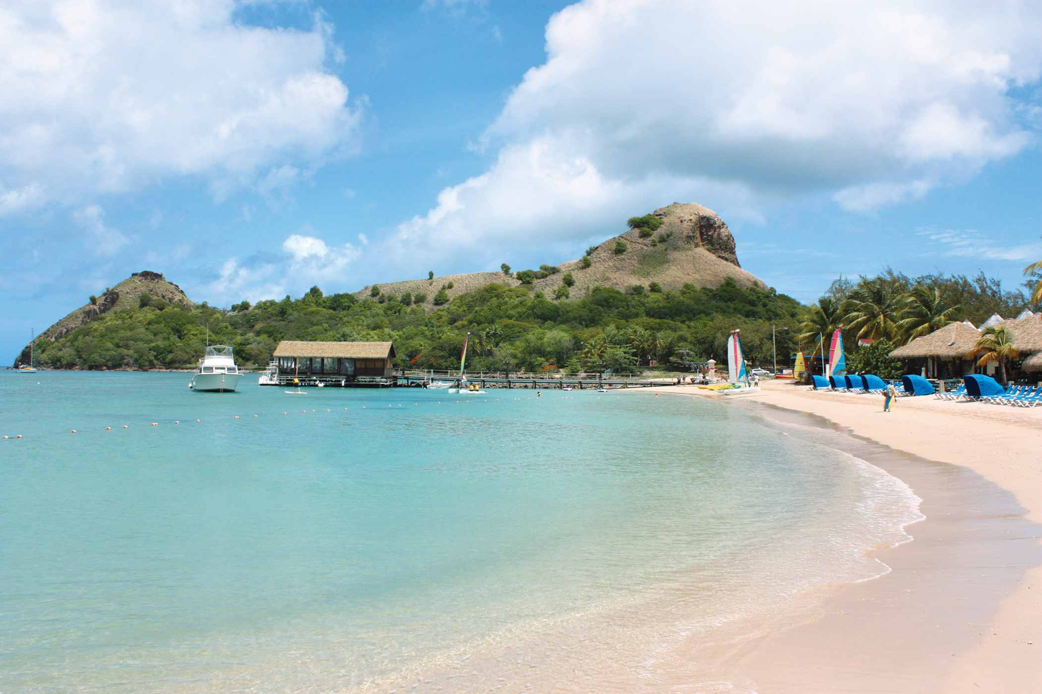 View of beach resort located on Pigeon Island in St. Lucia