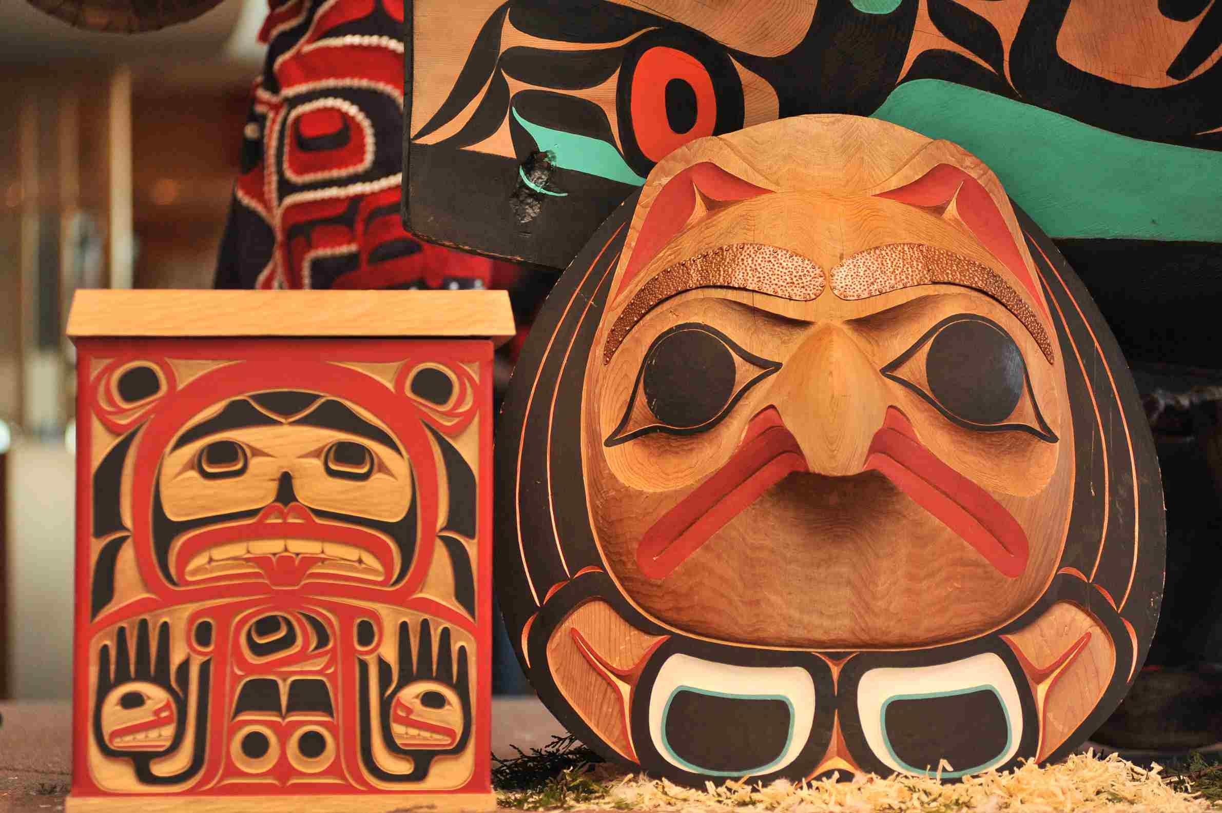 Examples of First Nations artwork, displayed at the Vancouver 2010 Paralympic Games