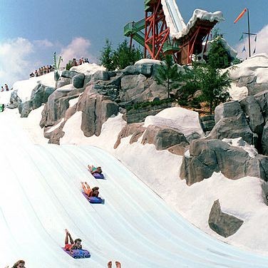 Eight riders on mats compete against each other on the Toboggan Racers.