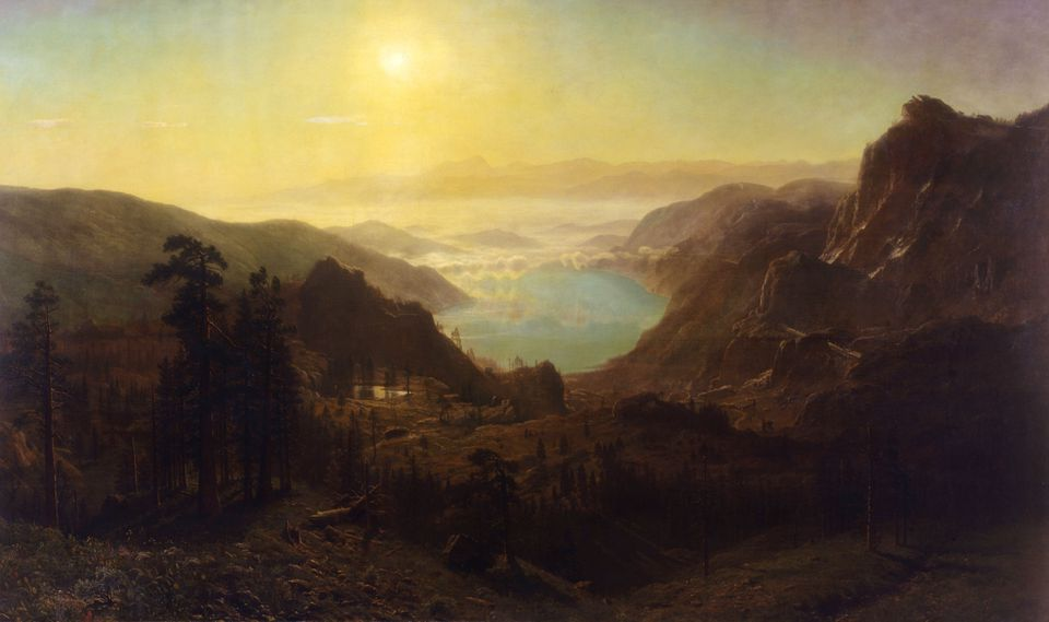 """Donner Lake from the Summit"" (1873) by Albert Bierstadt"