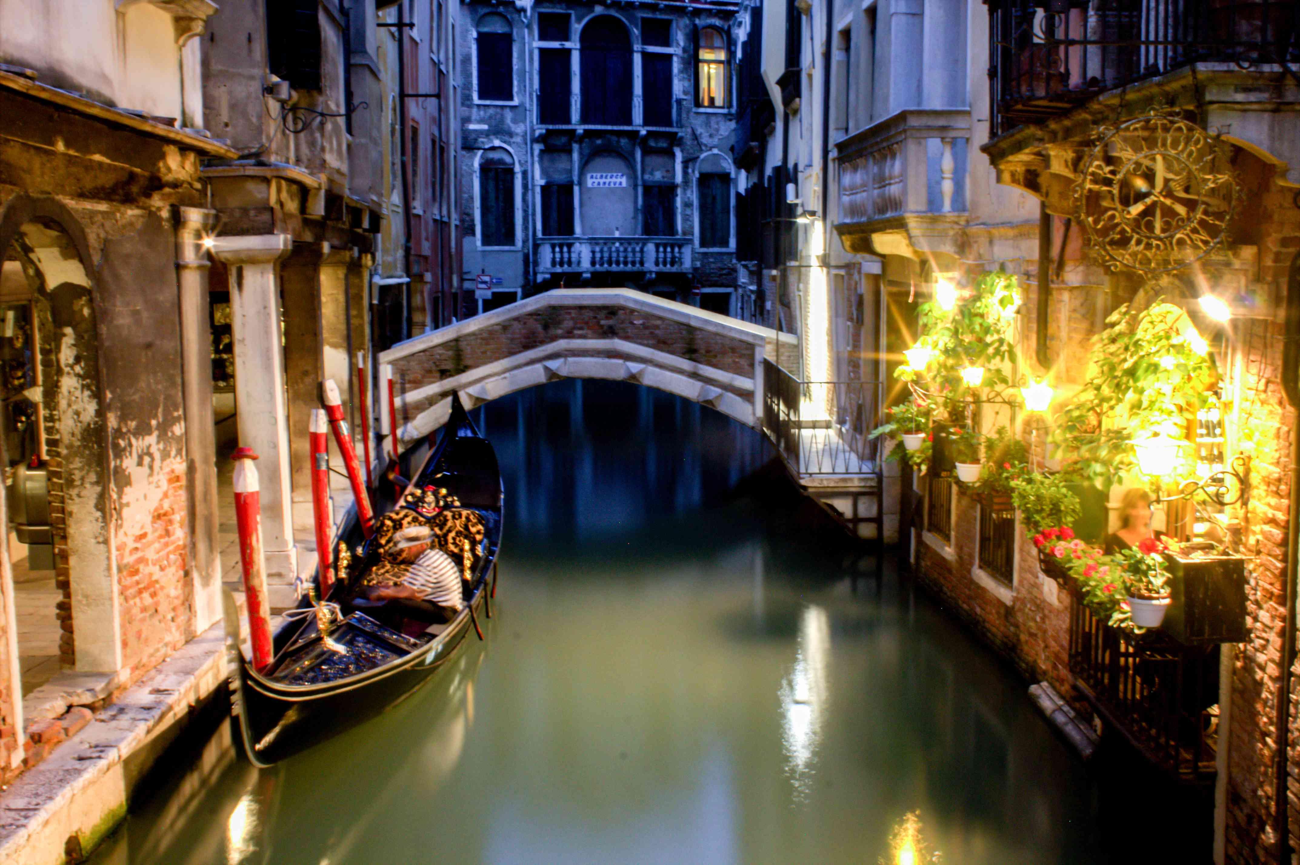 A gondola ride at night in Venice