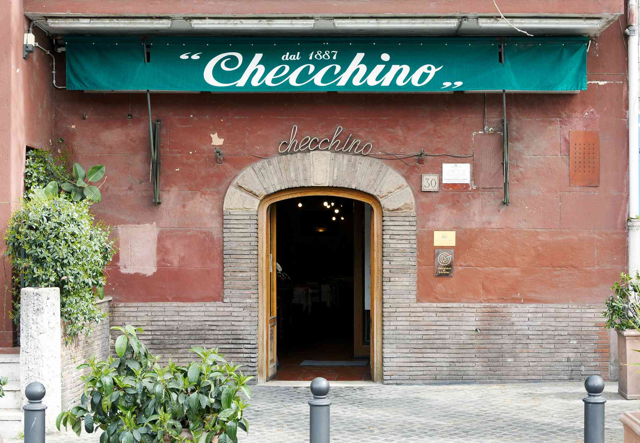 Exterior of the typical roman restaurant Checchino in Rome