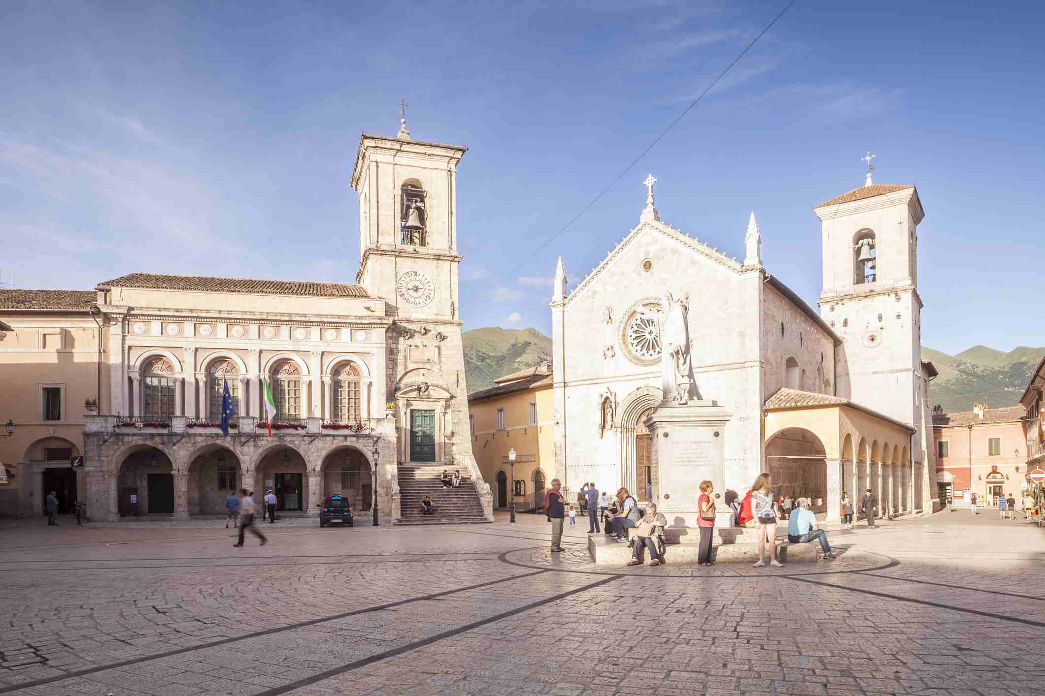 Piazza San Benedetto in Norcia, Italy.