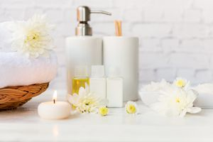 Travel toiletries on vanity
