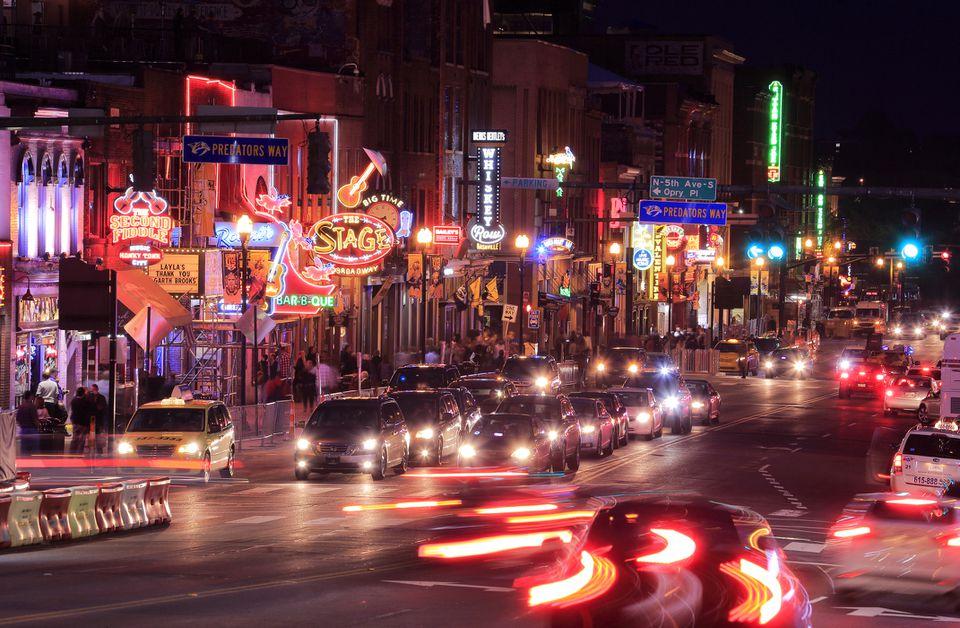 Night view of Lower Broadway