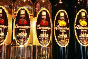 Palinka (brandy) bottles, Magyar Palinka haz, Jozsefvaros.