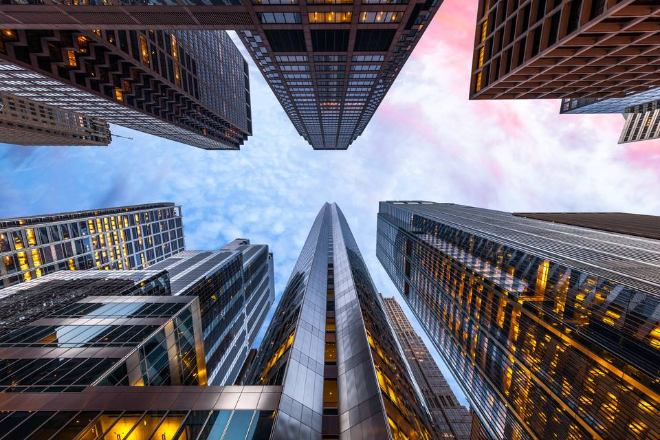 Sunrise, Looking Up, Chicago, Illinois, America