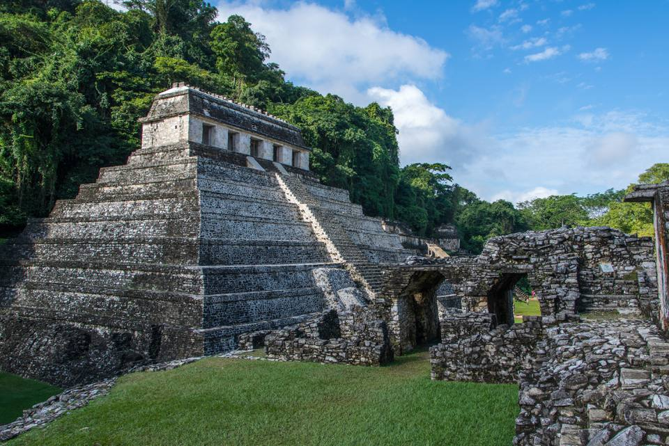 Pyramid of Palenque in jungle of Mexico