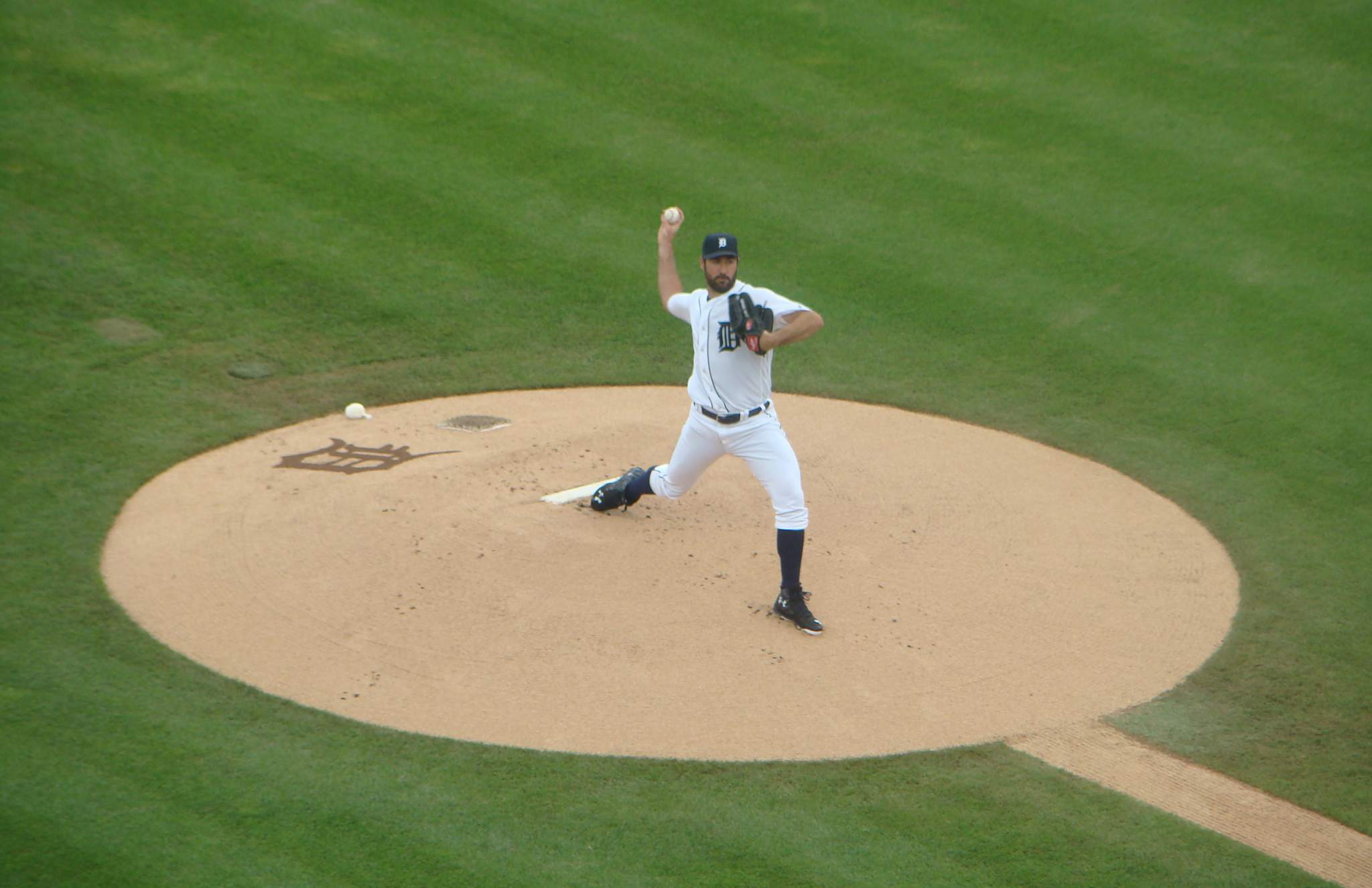Justin Verlander pitches in Comerica Park, Detroit.