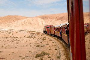 Lezard Rouge train passing through Tunisian desert