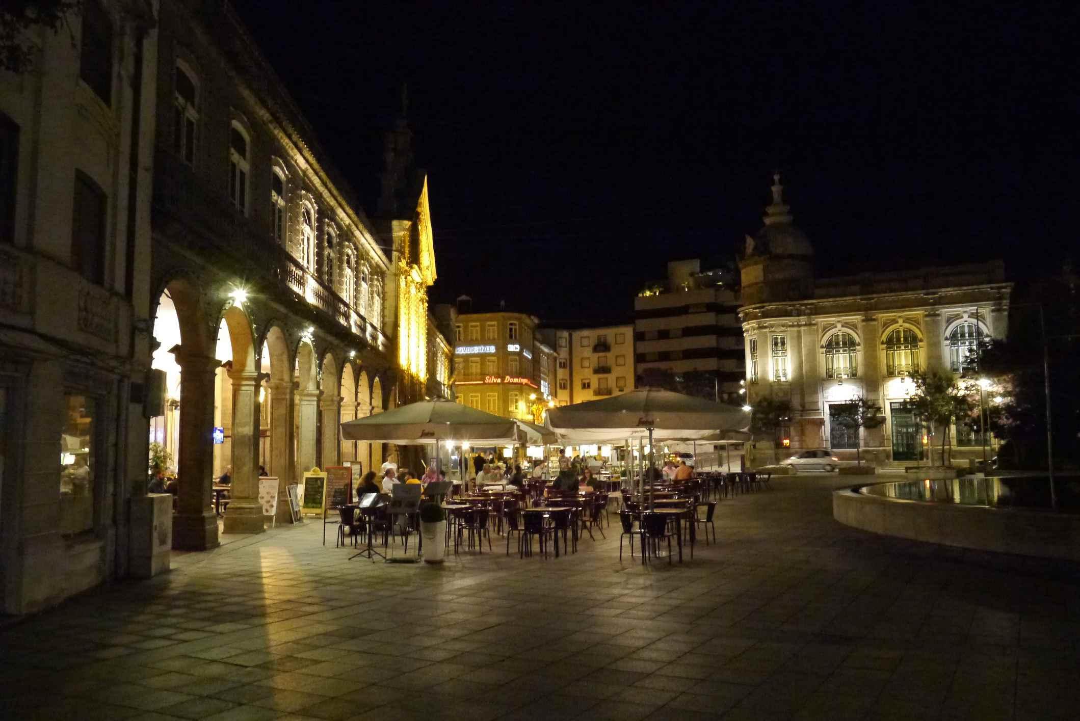 Night scene in central Braga Portugal