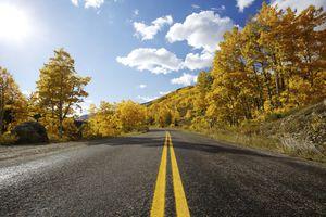Autumn Highway through mountains of Colorado