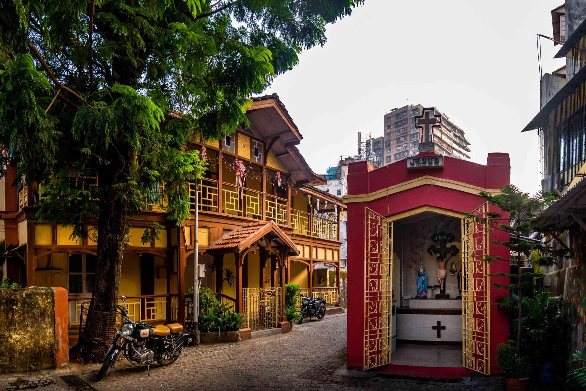 Heritage houses in a lane of Khotachiwadi at south Mumbai