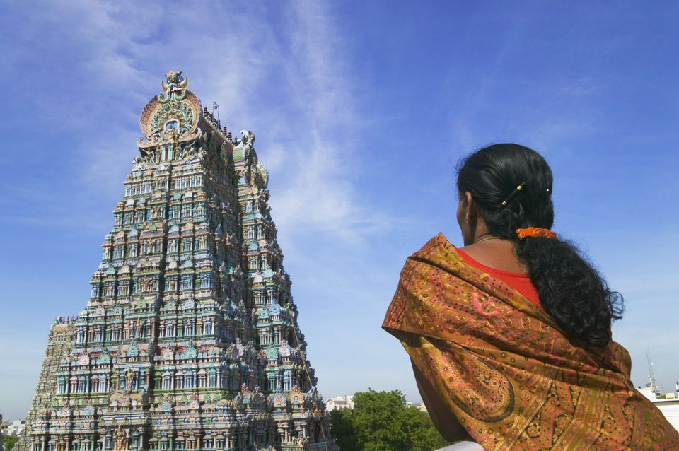 Woman at Meenakshi temple, Madurai.