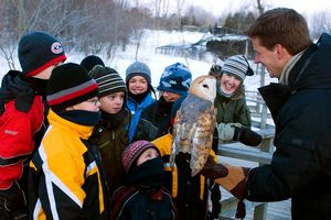 People looking at snowy owl at Ecomuseum Zoo