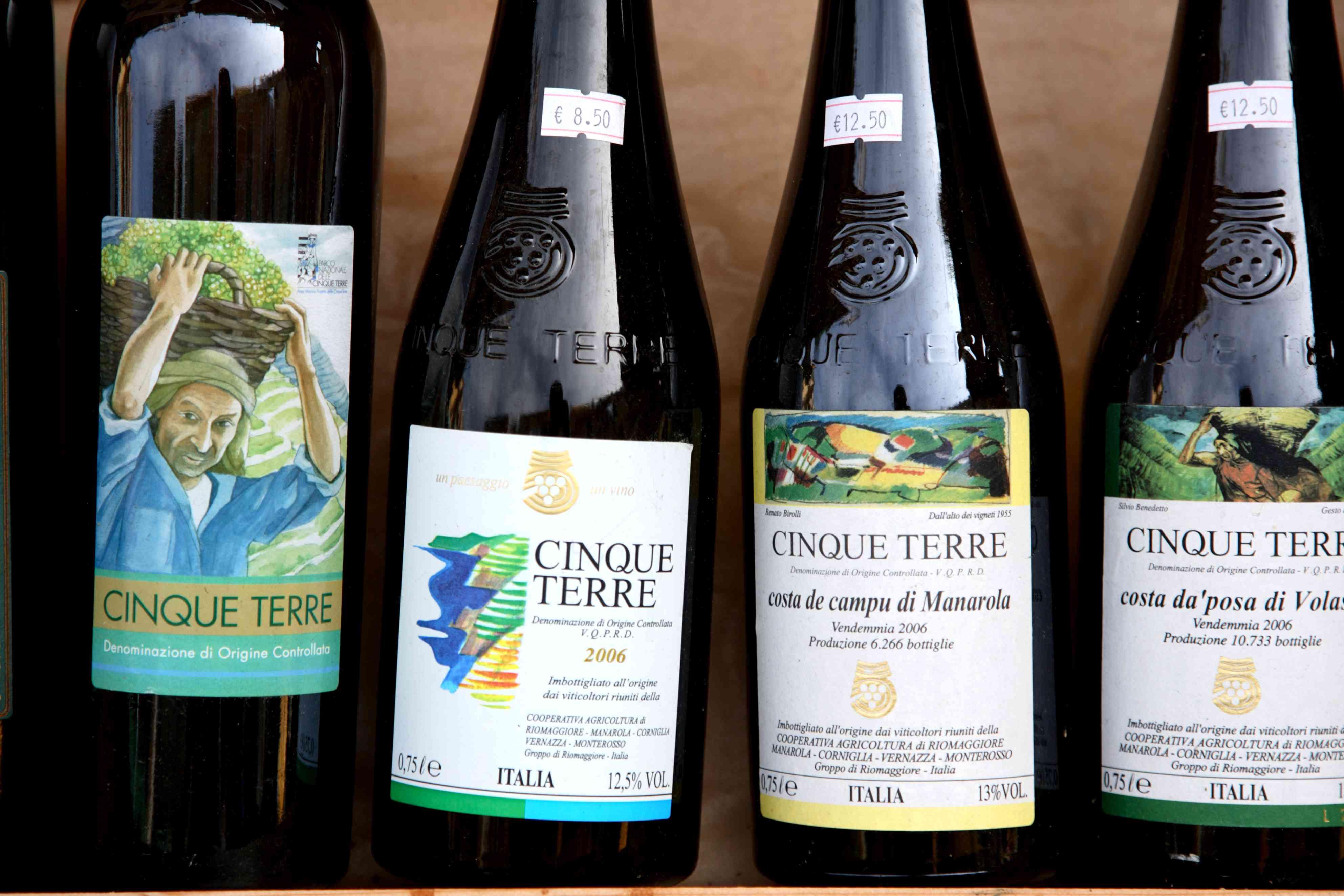 Bottles of wine produced in Cinque Terre region.