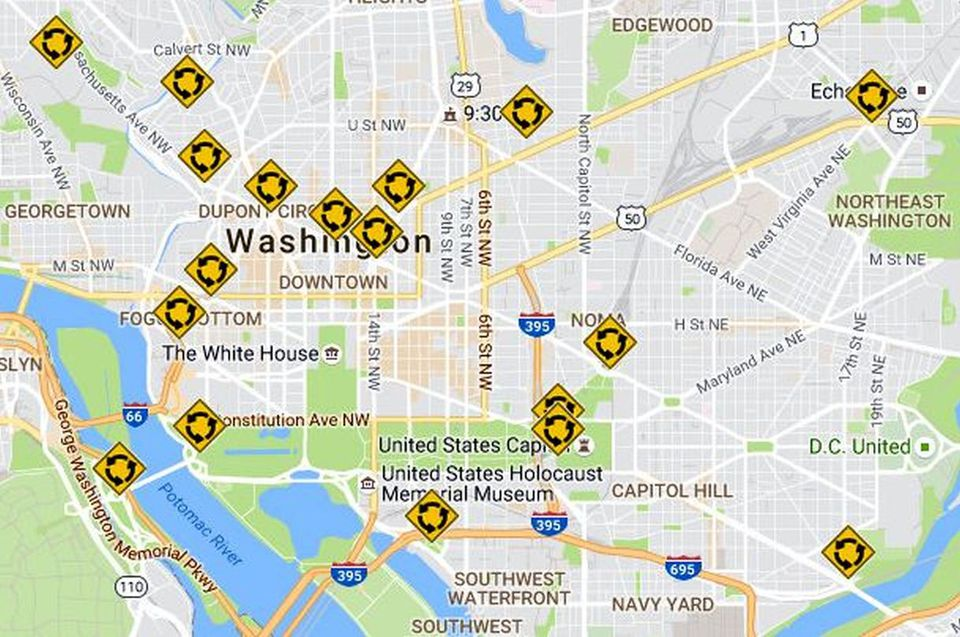 Washington Dc Traffic Circles Map