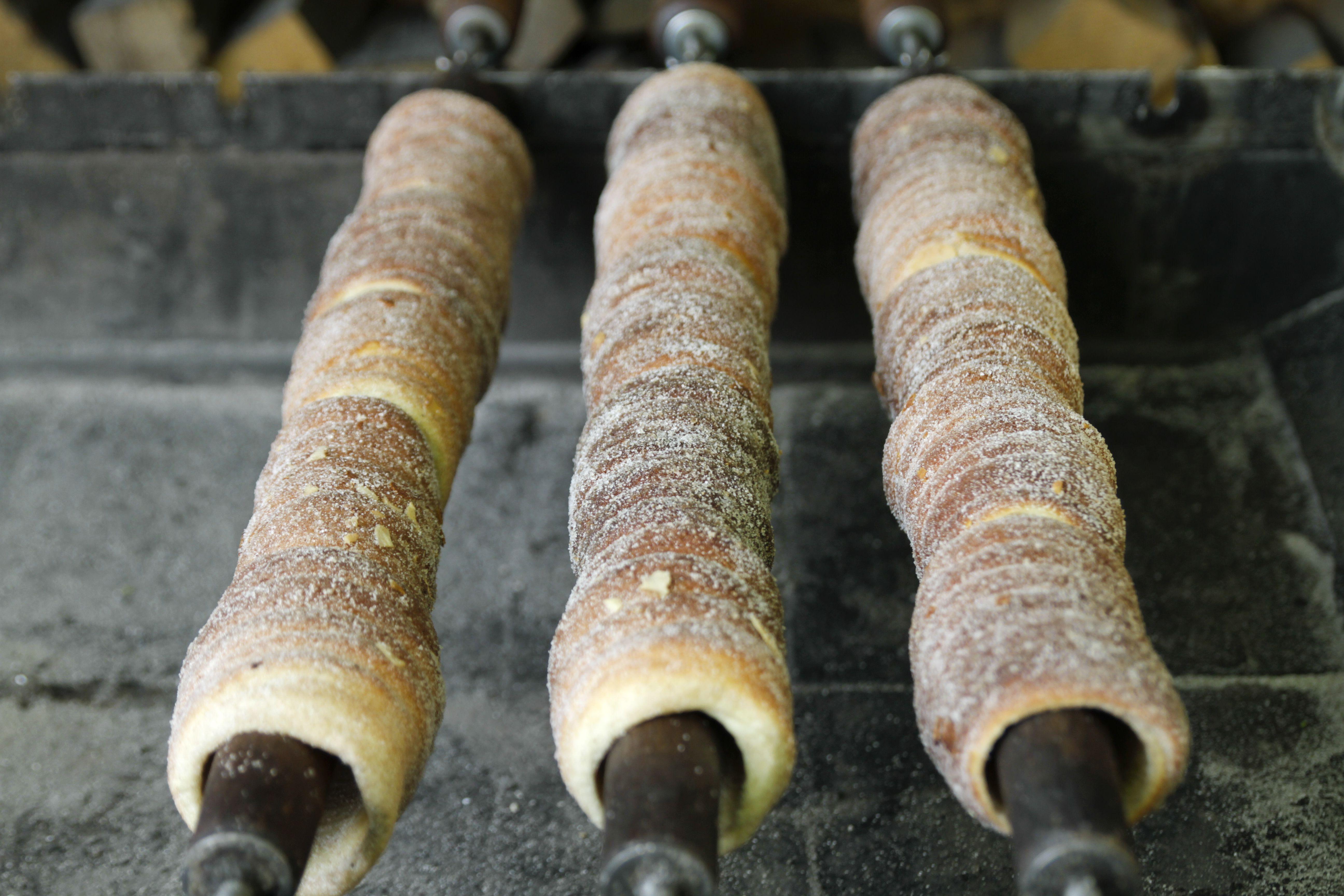 Trdelnik - sweet pastry grilled over flames in Prague