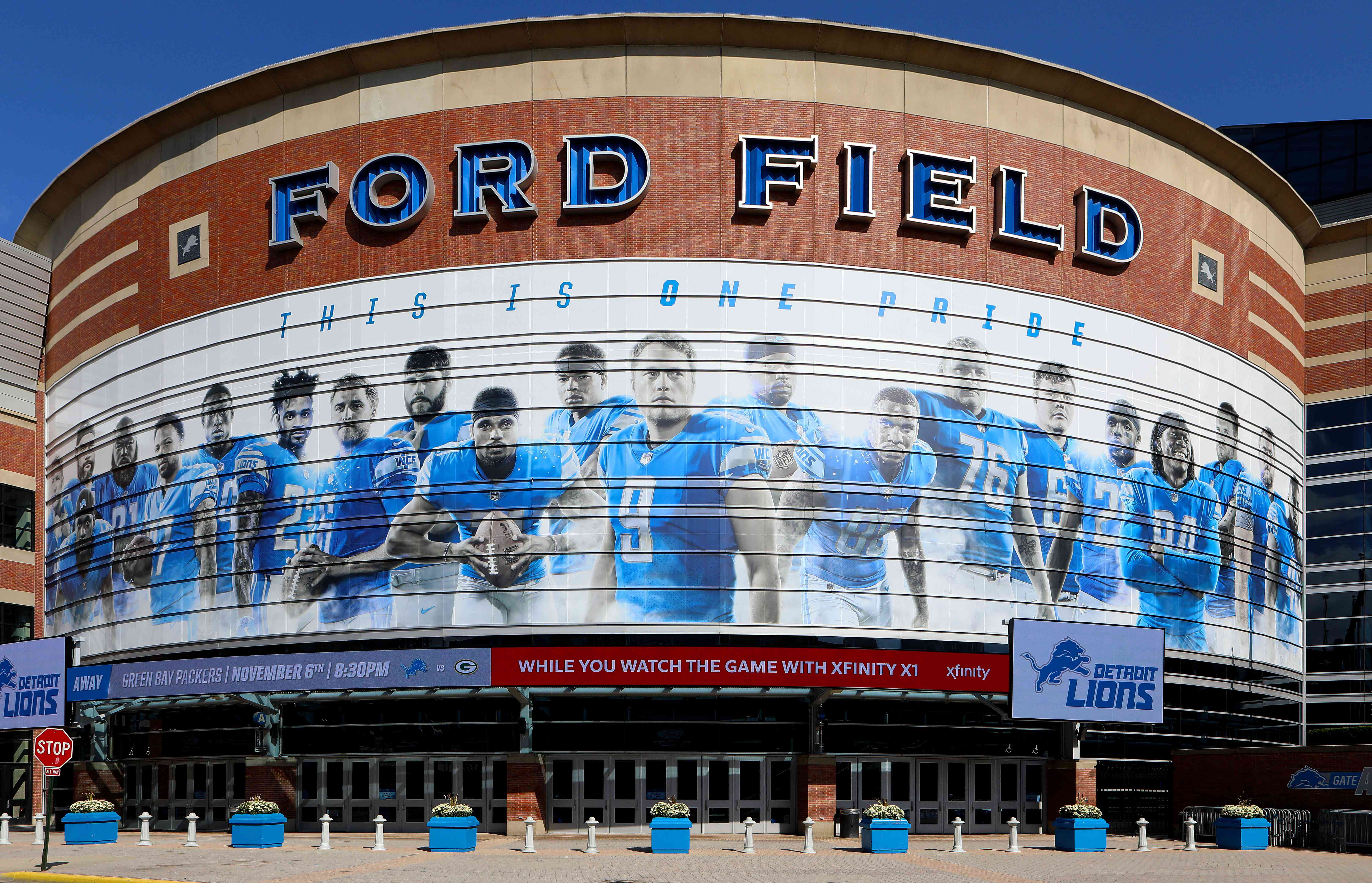 Ford Field, home of the Detroit Lions football team in Detroit, Michigan