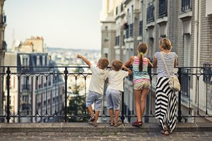 Family visiting Paris