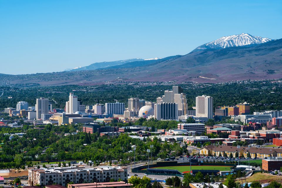 Aeial view of Reno, Nevada