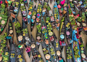 Overhead view of a floating market in Kalimantan, Borneo