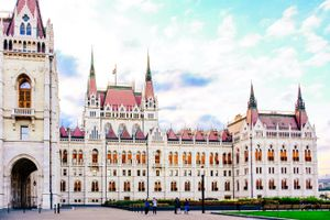 The front facade of the Parliament building in Budapest