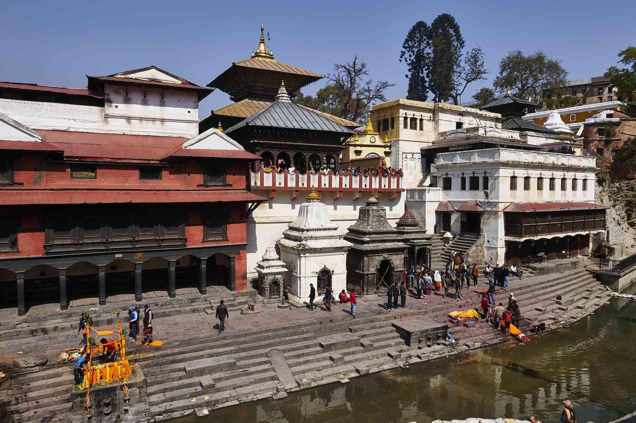 Hindu temples set beside a river