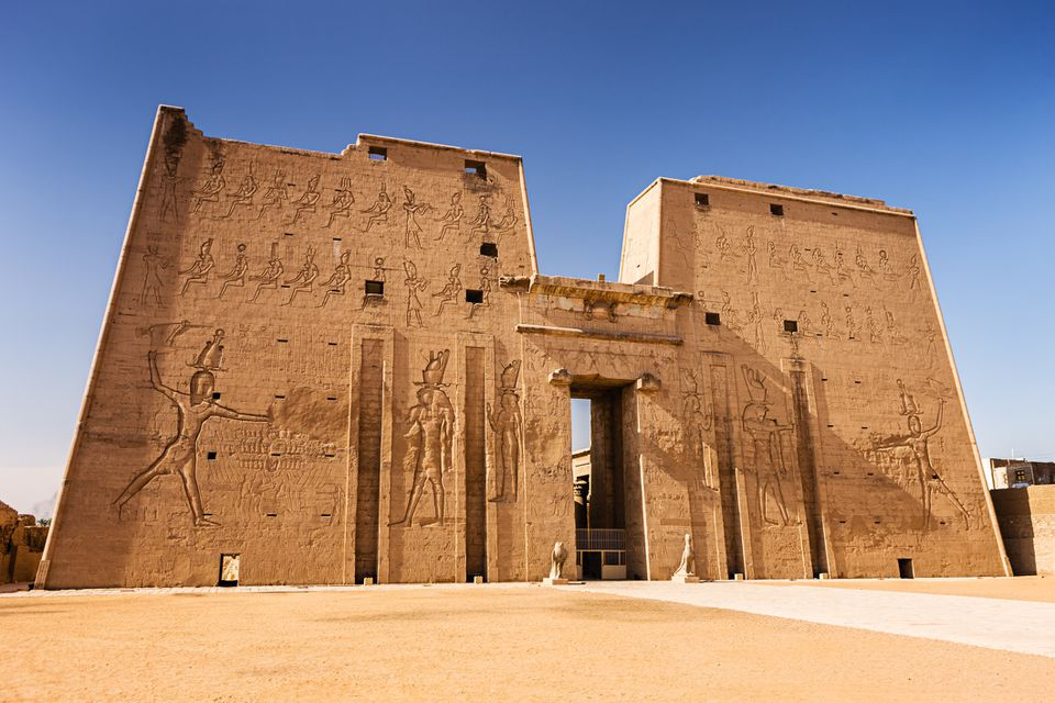 Monumental gateway or pylon of The Temple of Horus at Edfu, Egypt