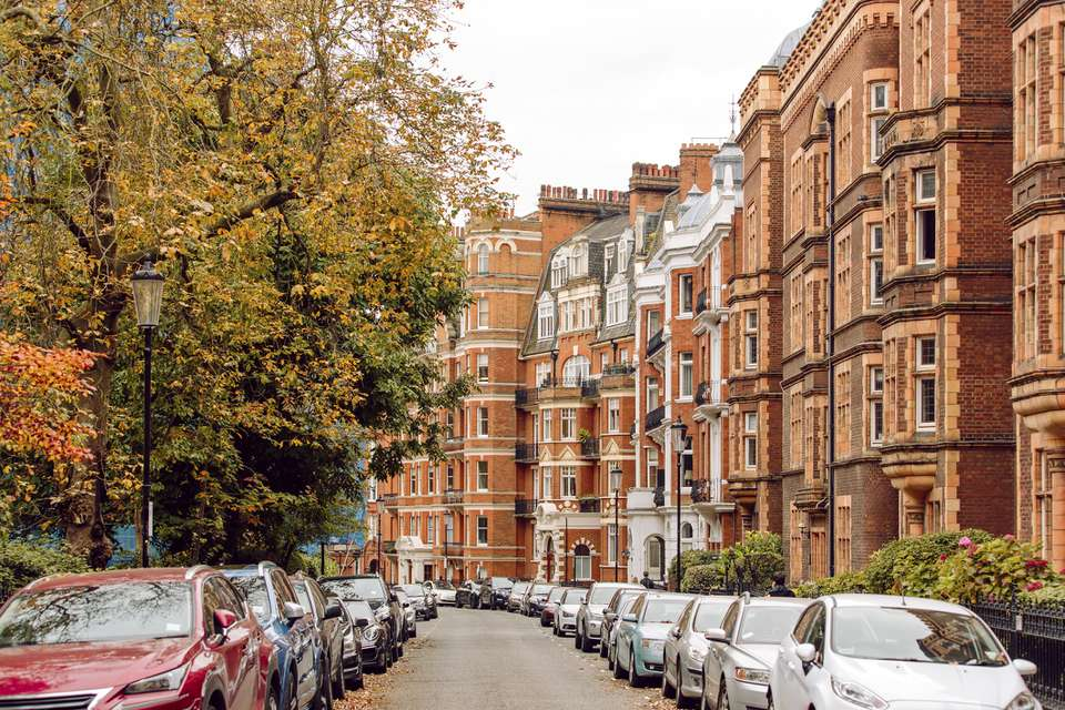 Street in Chelsea district, London, United Kingdom