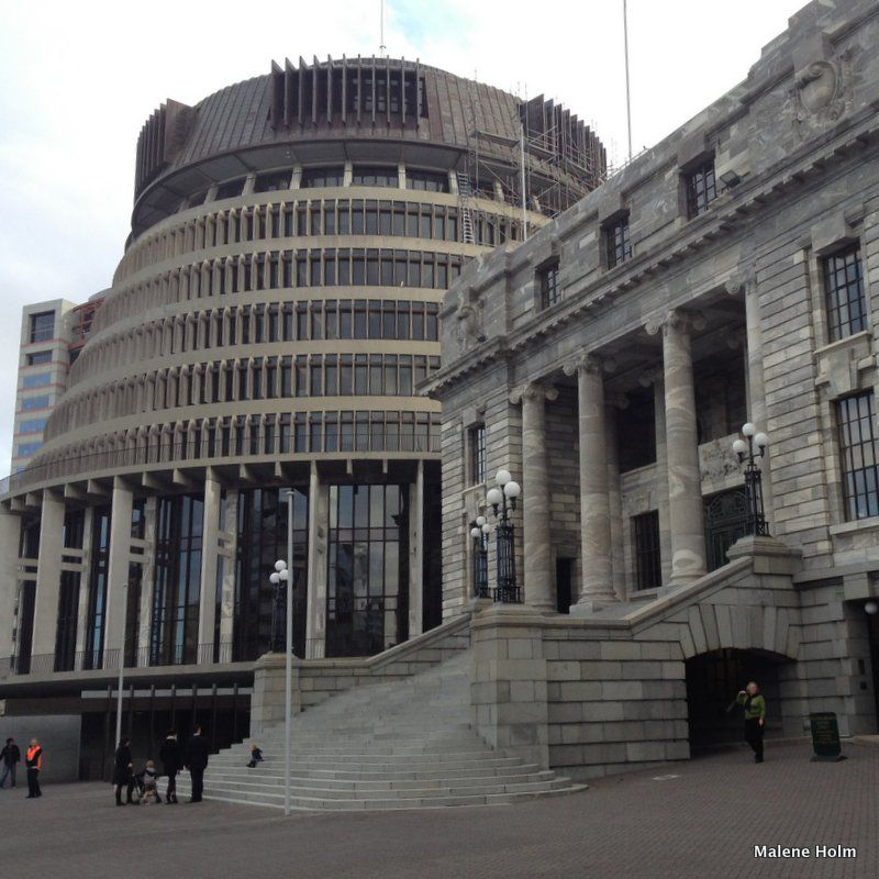 The Beehive and Parliament Building, Wellington
