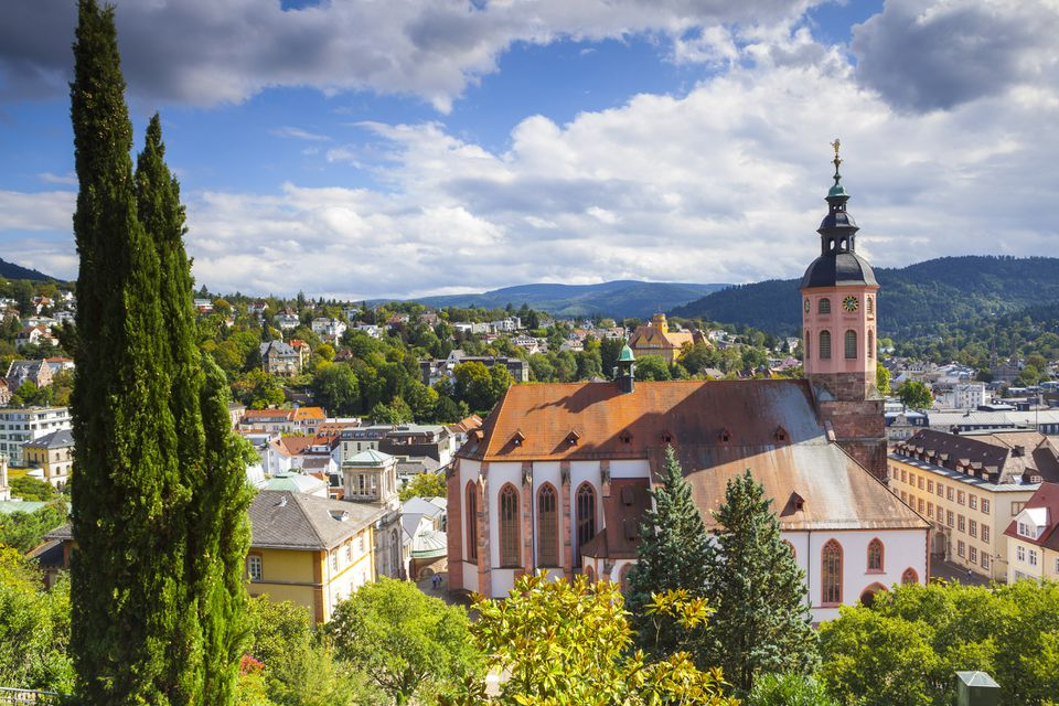 View of Baden-Baden with mountain range on background