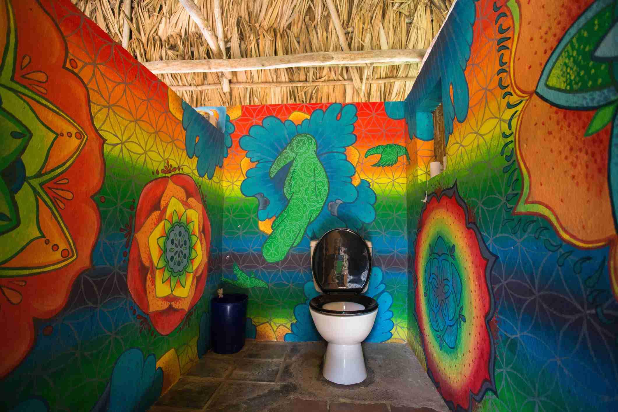 A colorful hostel bathroom in Guatemala
