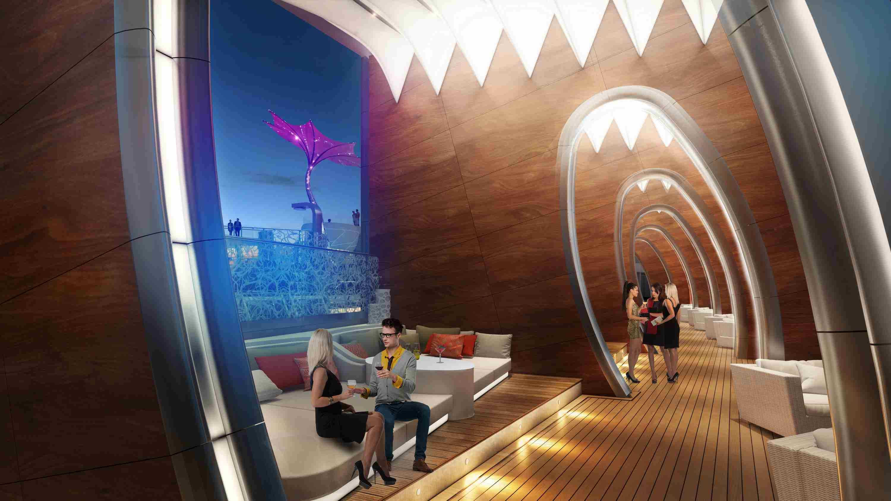 A rendering of guests socializing in the Celebrity Edge Cruise Ship Cabanas at night