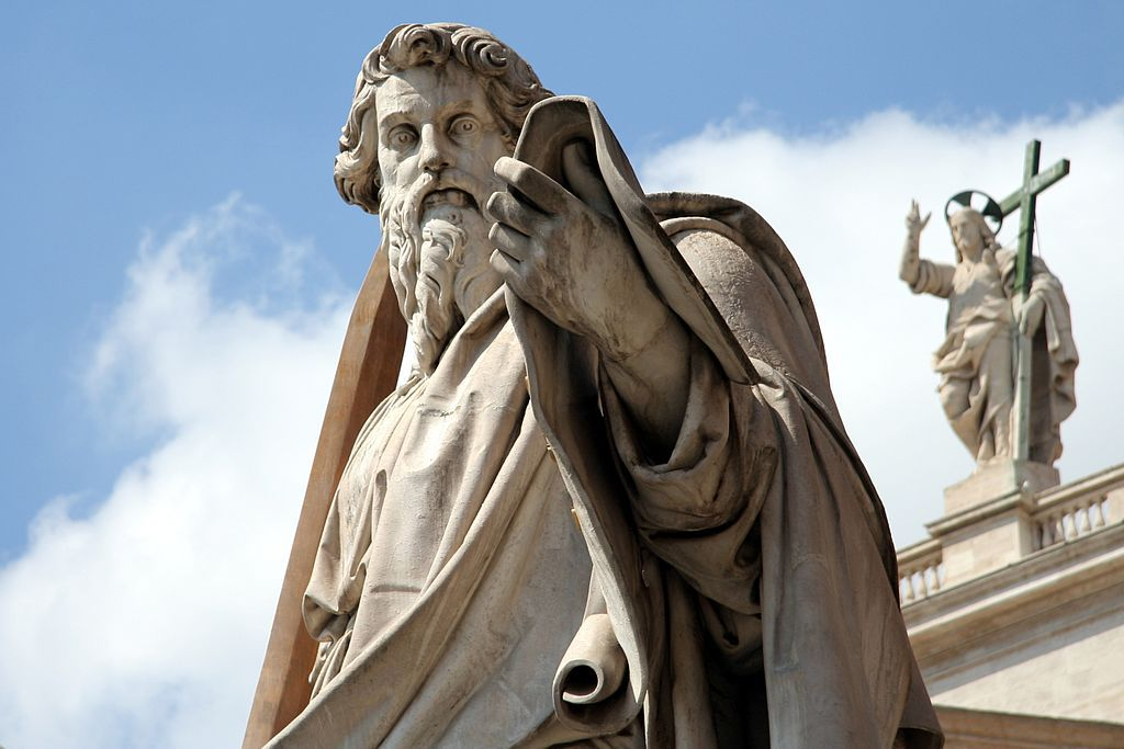 A statue of Saint Paul at St. Peter's Basilica