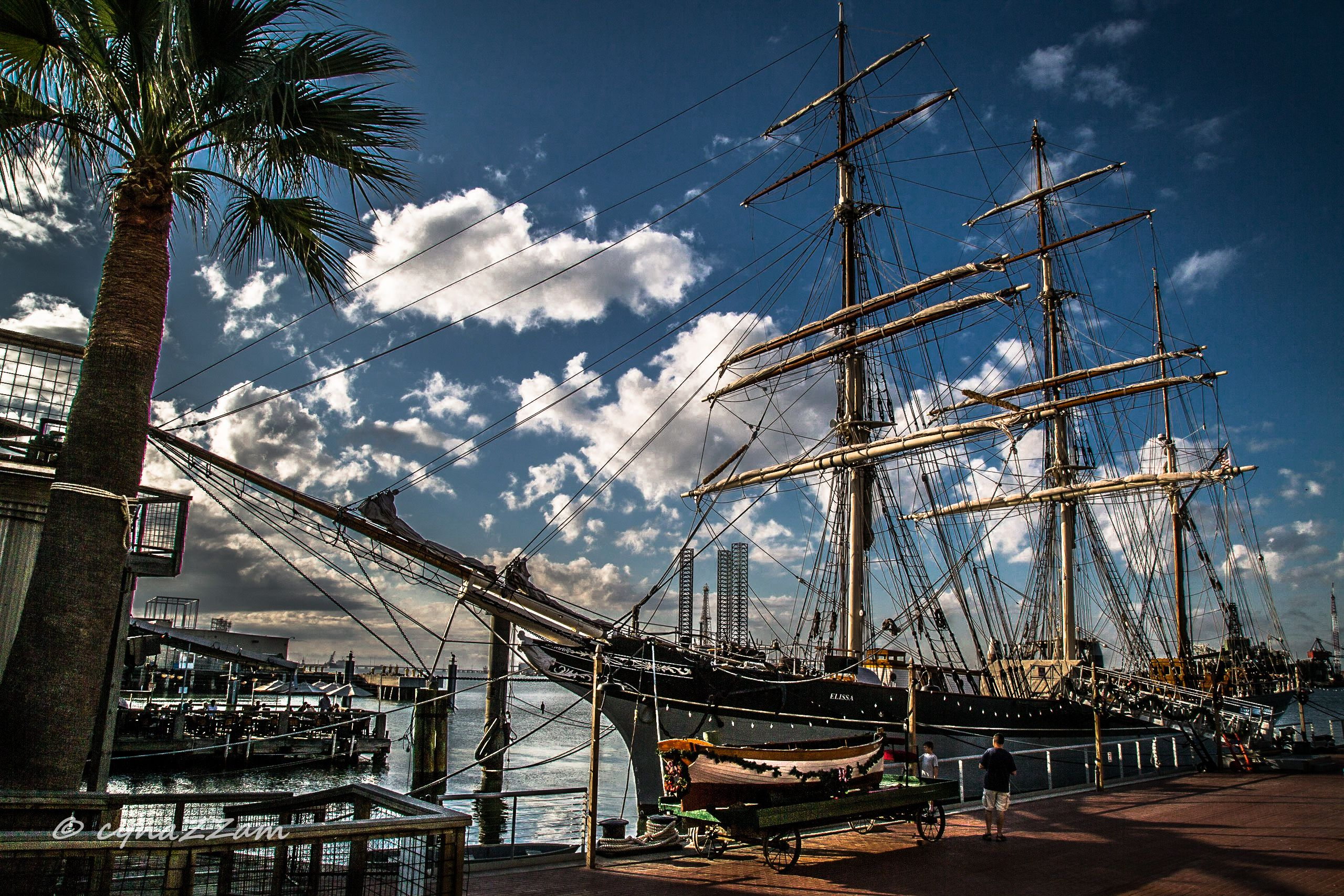 The Elissa at the Seaport Museum in Galveston.