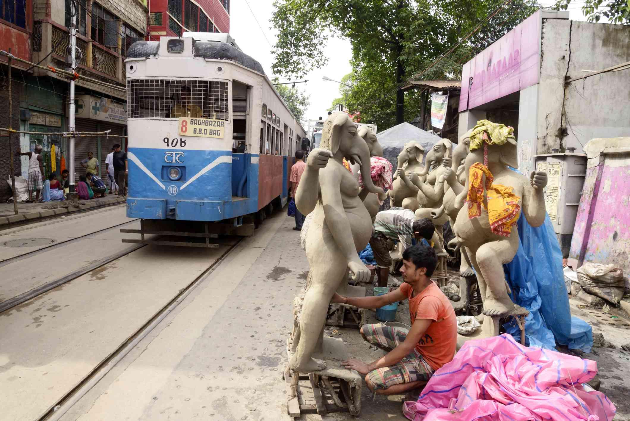 Tram at street of Kumartuli