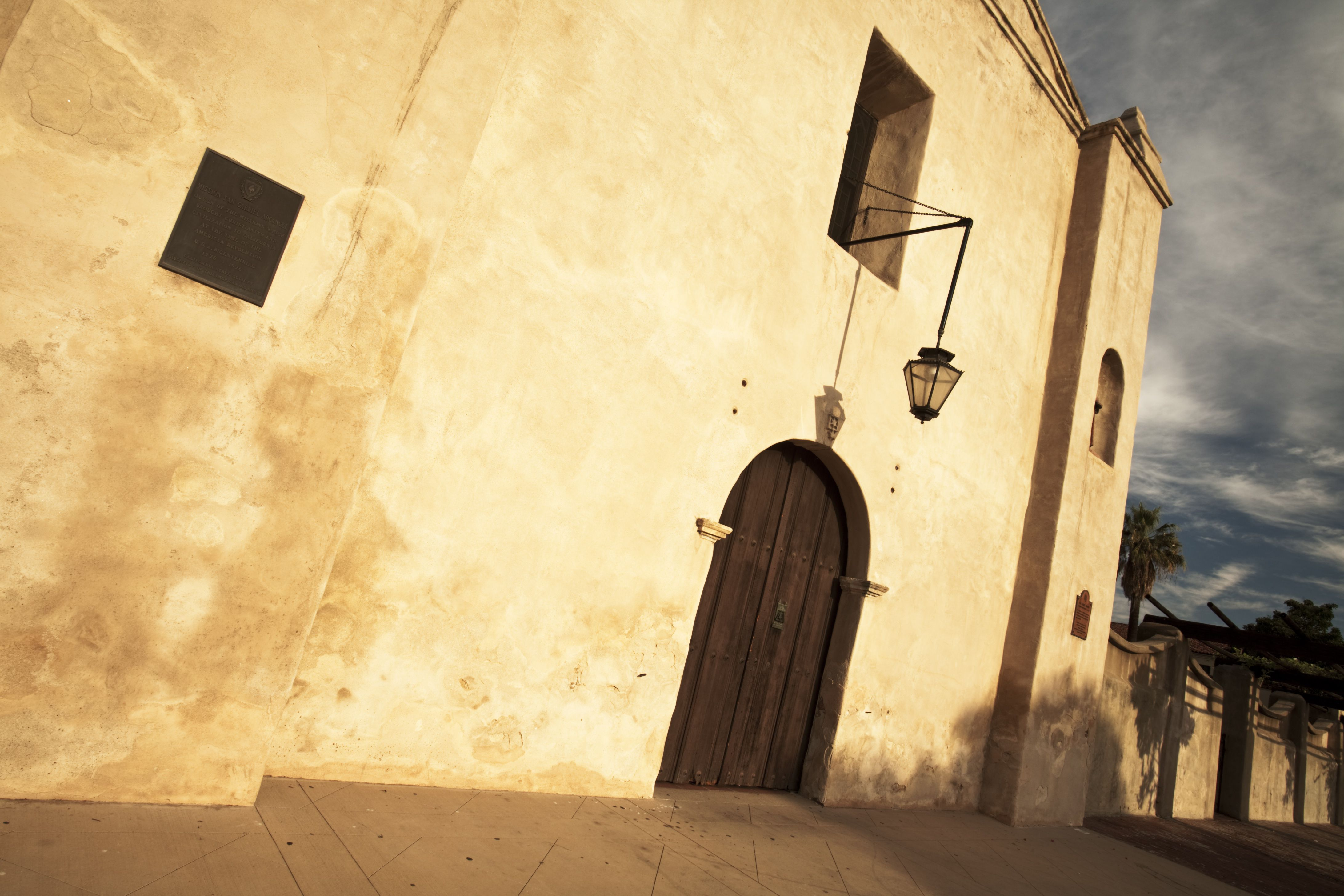 Mission San Gabriel Arcange in early morning light.