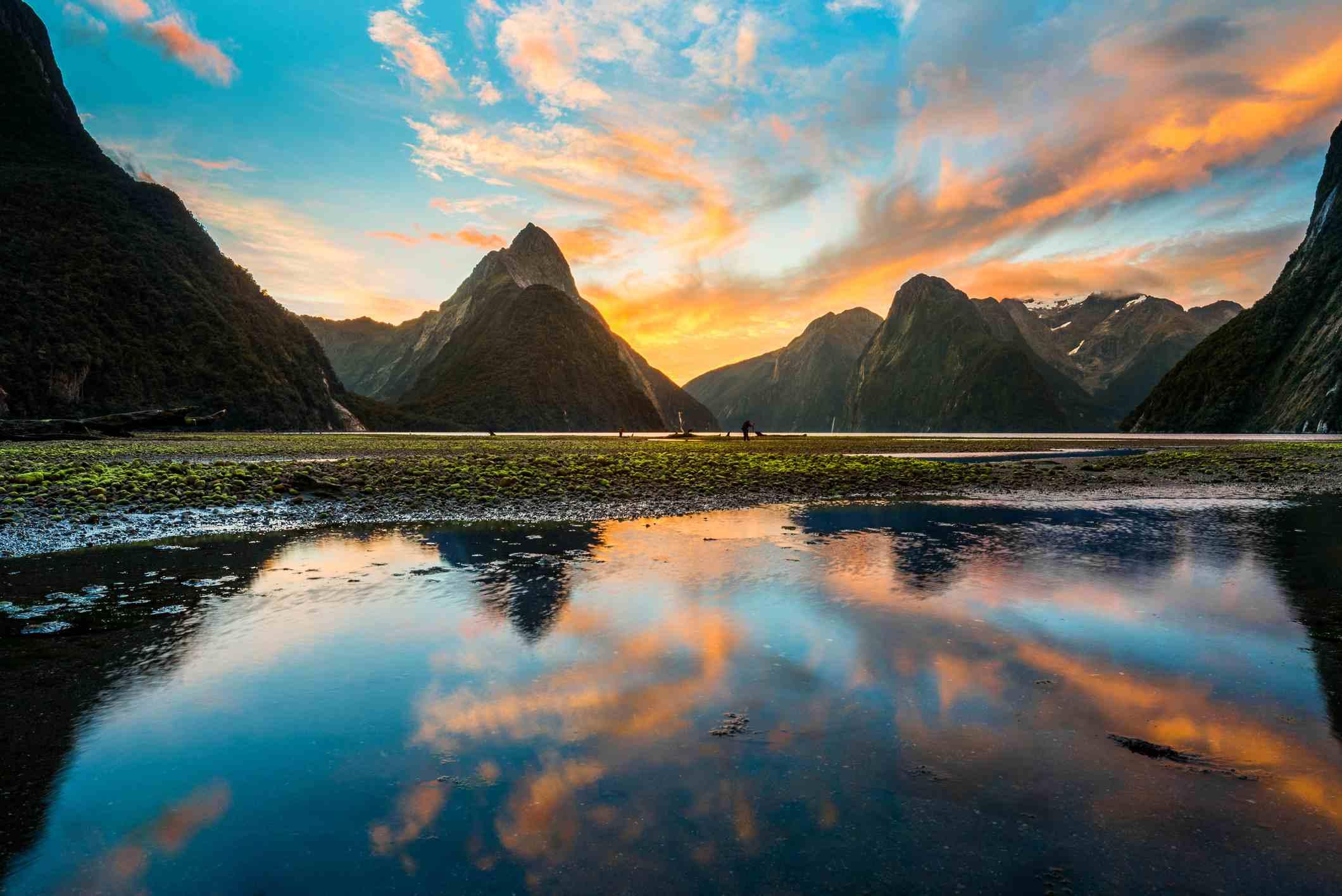 Twilight Milford sound, New Zealand
