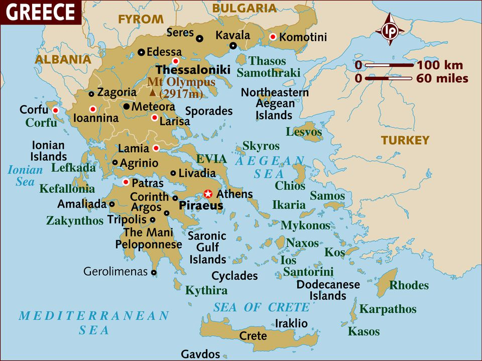 Map of Greece - a Basic Map of Greece and the Greek Isles
