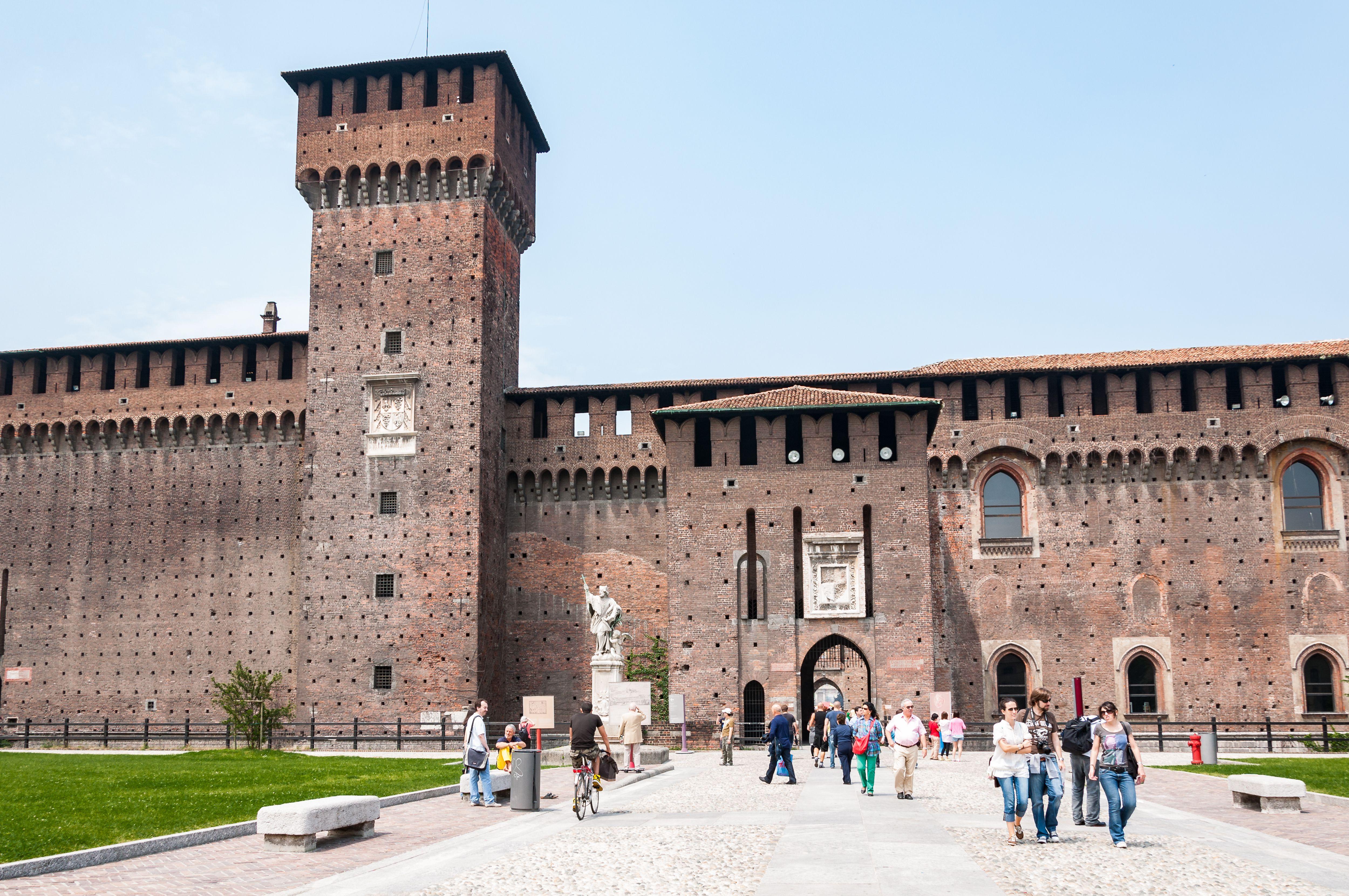 Castello Sforzesco with tourists